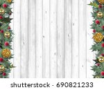frame with holly and gold | Shutterstock . vector #690821233