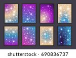 card set with floral glowing... | Shutterstock .eps vector #690836737
