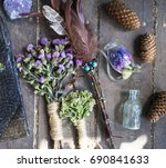 dry herb  wicca  magic  sorcery ... | Shutterstock . vector #690841633
