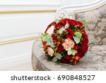 beautiful wedding bouquet of... | Shutterstock . vector #690848527