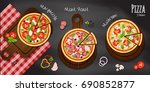 set of pizza on wood cutting... | Shutterstock .eps vector #690852877