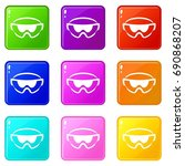 safety glasses icons of 9 color ... | Shutterstock . vector #690868207