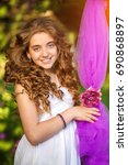 happy girl  | Shutterstock . vector #690868897