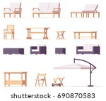 Vector low poly patio and outdoor equipment and furniture set | Shutterstock vector #690870583