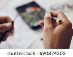 repair of computer parts        ... | Shutterstock . vector #690874303