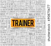 trainer word cloud background ... | Shutterstock .eps vector #690875677