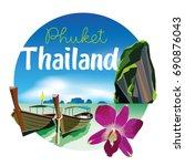 phuket thailand beach scenery... | Shutterstock .eps vector #690876043