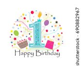 first birthday greeting card...   Shutterstock .eps vector #690882967