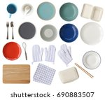 empty plates and bowls  paper...   Shutterstock . vector #690883507