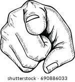 sketch of  hand pointing finger | Shutterstock .eps vector #690886033