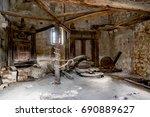 old mill inside stone house | Shutterstock . vector #690889627