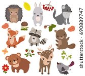 forest animals vector set of... | Shutterstock .eps vector #690889747