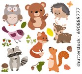 forest animals vector set of... | Shutterstock .eps vector #690889777