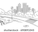 street road graphic black white ... | Shutterstock .eps vector #690891043
