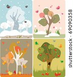 4 seasons of the year in a cute ... | Shutterstock .eps vector #69090358