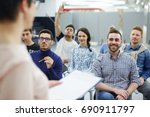 groupmates listening to... | Shutterstock . vector #690911797