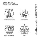 law and justice  square mini... | Shutterstock .eps vector #690929977