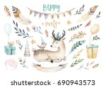 cute baby deer nursery animal... | Shutterstock . vector #690943573