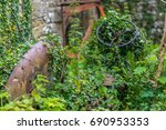 old abandoned tractor in an... | Shutterstock . vector #690953353