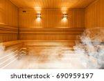 Interior Of Finnish Sauna ...