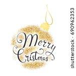 lettering merry christmas.... | Shutterstock .eps vector #690962353