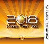 2018 happy new year gift... | Shutterstock .eps vector #690967447