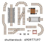 the elements of the railroad.... | Shutterstock .eps vector #690977197