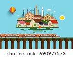 modern train on high bridge and ... | Shutterstock .eps vector #690979573