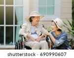 elderly woman relax on... | Shutterstock . vector #690990607