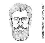the face of a bearded man with... | Shutterstock .eps vector #690997507