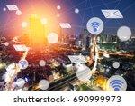 modern and wireless sensor... | Shutterstock . vector #690999973