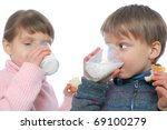 two children having lunch with... | Shutterstock . vector #69100279