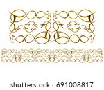 golden  ornamental segment ... | Shutterstock . vector #691008817