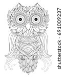 owl coloring page | Shutterstock .eps vector #691009237