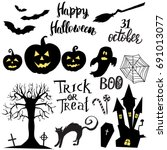 set of halloween elements ... | Shutterstock .eps vector #691013077