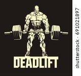 bodybuilder with barbell ... | Shutterstock .eps vector #691021897