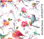 Vintage Seamless Pattern  Bird...
