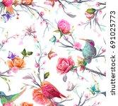 vintage seamless pattern  bird  ... | Shutterstock .eps vector #691025773