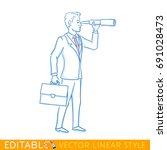 visionary. businessman is... | Shutterstock .eps vector #691028473