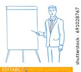 business man at presentation.... | Shutterstock .eps vector #691028767