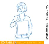 woman is showing blank paper.... | Shutterstock .eps vector #691028797