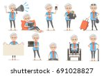 elderly female poses and... | Shutterstock .eps vector #691028827
