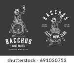bacchus sitting on a wood wine...   Shutterstock .eps vector #691030753