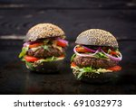 black big sandwich    black... | Shutterstock . vector #691032973