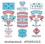 set c of wine badges and icons...   Shutterstock .eps vector #691041313