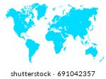 turquoise world map   stock... | Shutterstock .eps vector #691042357