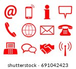 red contact icons   for stock | Shutterstock .eps vector #691042423
