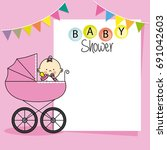 baby shower card. baby girl... | Shutterstock .eps vector #691042603