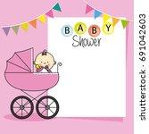 baby shower card. baby girl... | Shutterstock .eps vector #691042603