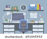 workplace in flat style.... | Shutterstock .eps vector #691045933